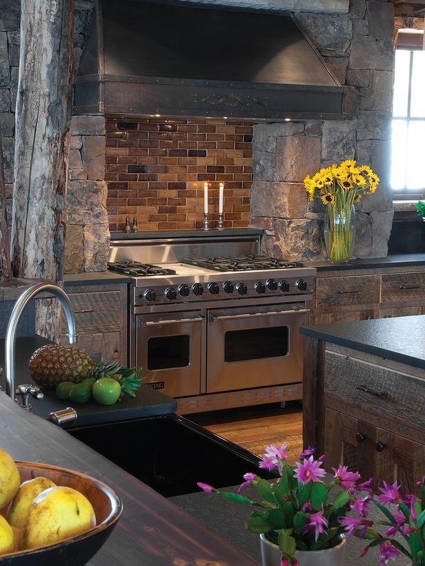 Gourmet Viking Oven With Brick Backsplash And Stone Surround